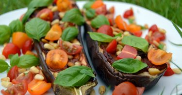Aubergine Tomato and Basil Pizza