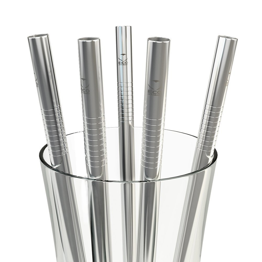 Metal straws in a glass
