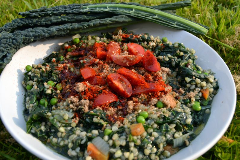 Supergreen buckwheat rissotto with kale and seeweed