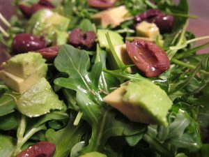 Salad with olives and avocado