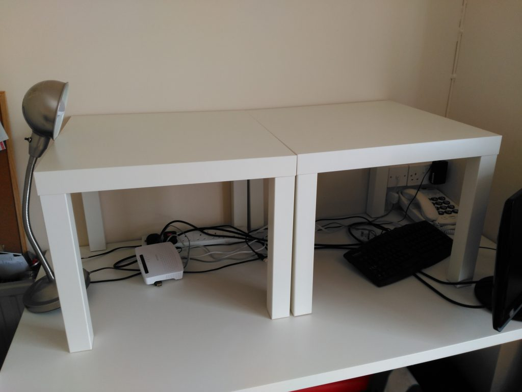coffee tables on a normal desk