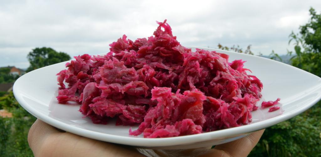 red sauerkraut on a plate