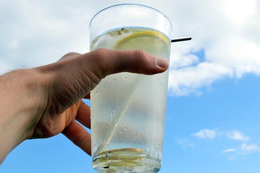 elderflower water in a glass