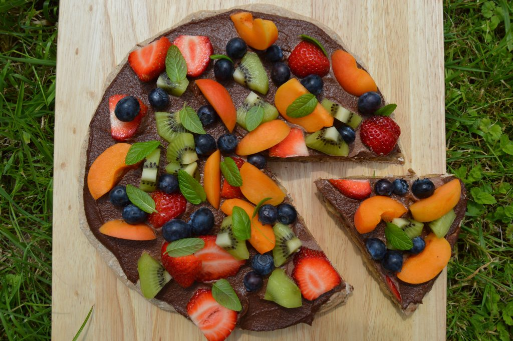 healthy dessert pizza from top