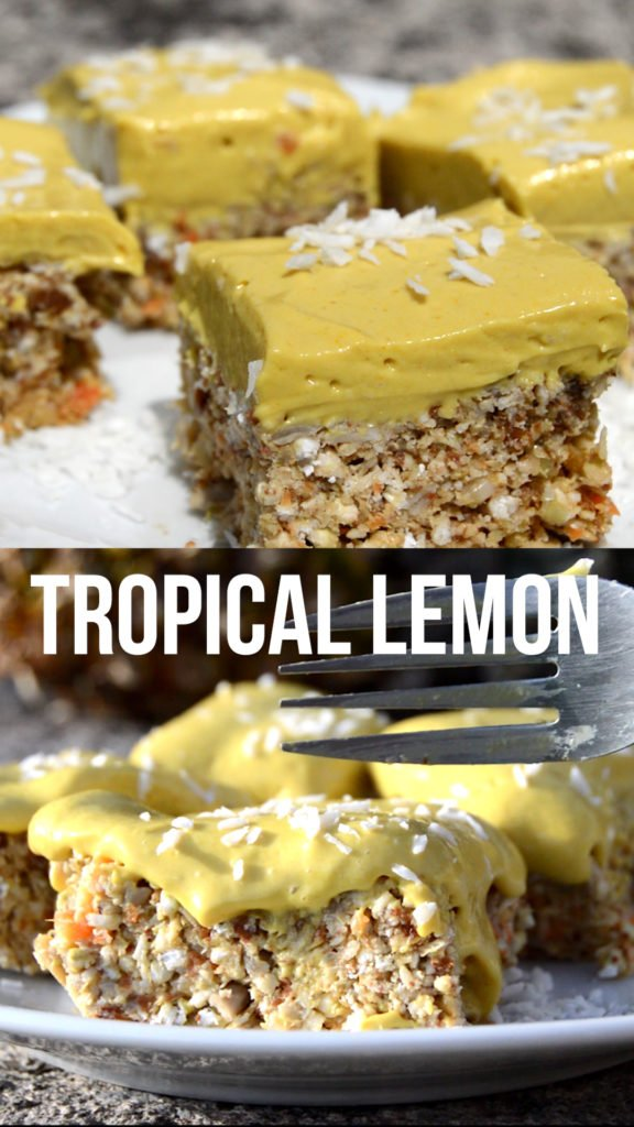 Tropical lemon cake that's no-bake, raw and healthy #rawvegan #healthycake #glutenfree #nobake