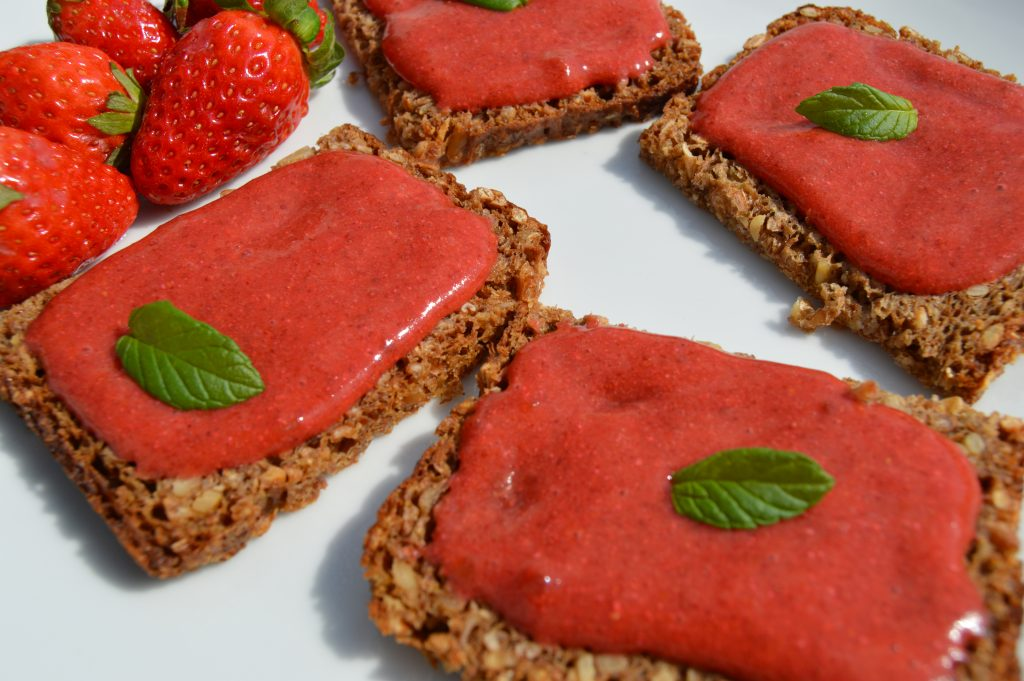 raw chia strawberry jam on rye bread