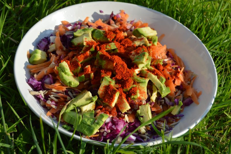 carrot and cabbage with activated sunflower seeds