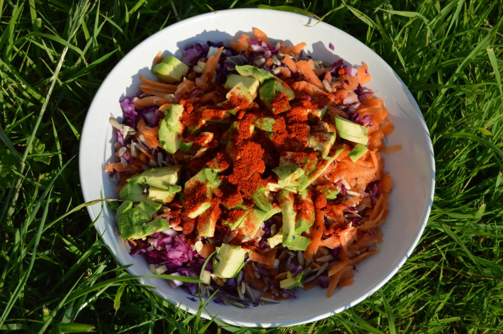 carrot and cabbage with activated sunflower seeds salad and an avacado