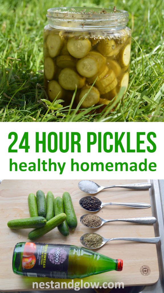 Easy homemade sweet pickles can be made in 24 hours. If you like pickles try this easy recipe for healthy homemade pickles using apple cider vinegar. All the flavour of pickles but with the nutrition of fresh cucumbers. Can be made with any sized cucumber. #healthyrecipes #healthyfood #healthyeating #healthyliving #healthy
