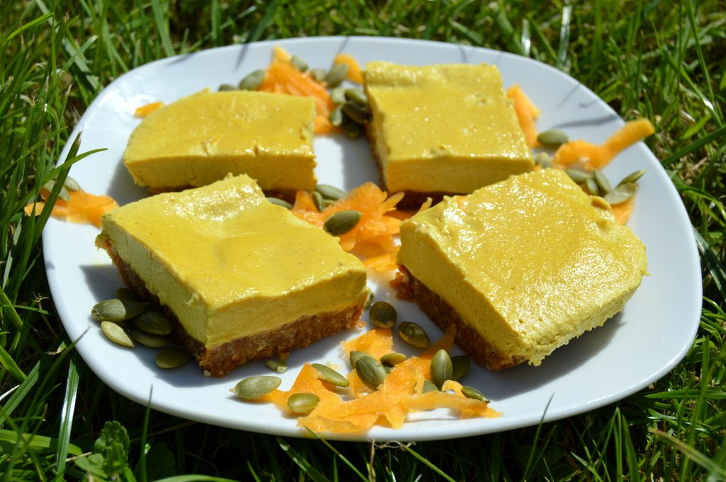raw pumpkin pie cake in the sun