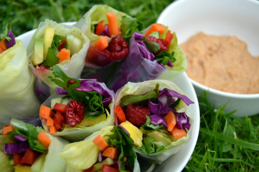 summer rolls with peanut dip