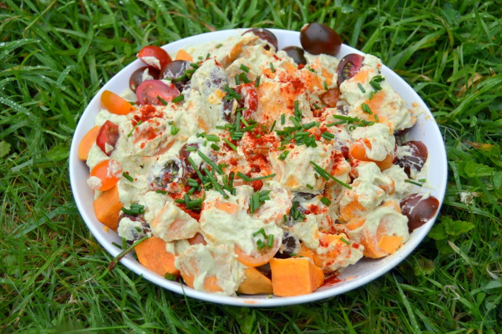A large bowl of Avocado Sweet Potato Salad