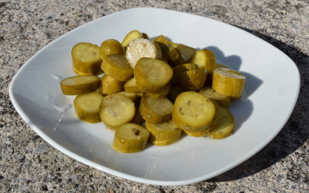 24 Hour Pickled Gherkins on a plate