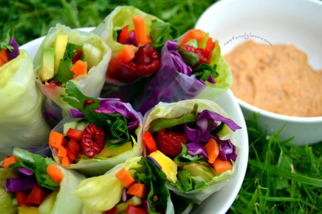 Healthy easy summer rolls vegan recipe. With a rainbow of different vegetables and an amazing nutty healthy dip.