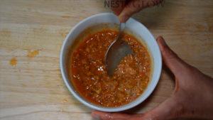 mixing peanut dip