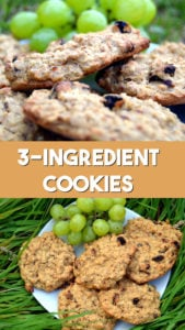 3 ingredient cookies recipe on a plate with raisins and banana