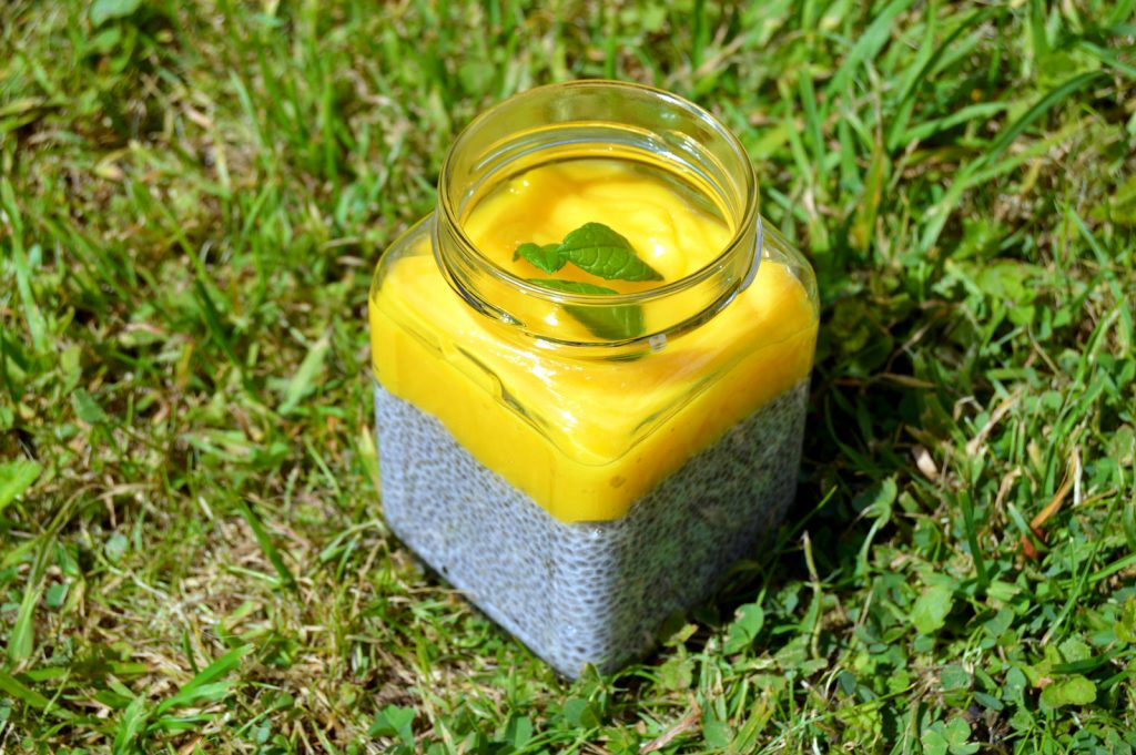 Serving Mango Lime Chia Pudding in old Jars looks great, saves recycling, transport well and come with a lid.