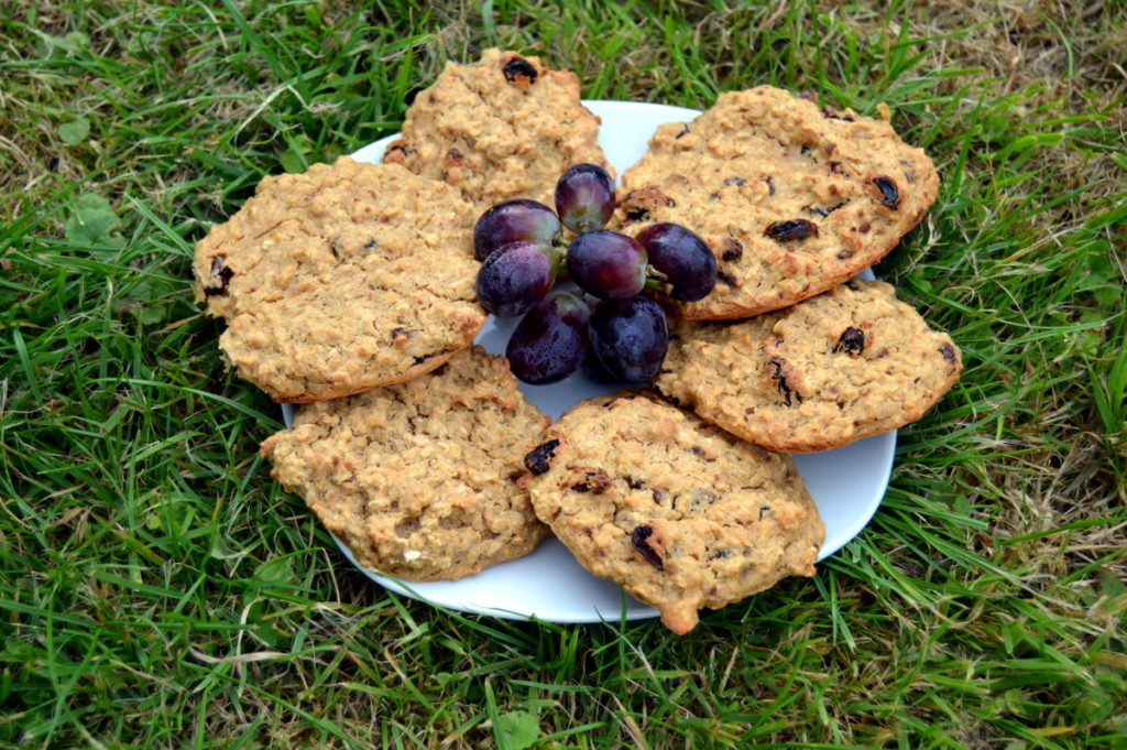 raisin banana oat cookie biscuits with red grapes made from 3 ingredients