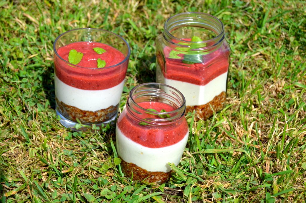 Three Raw Strawberry Cheesecakes