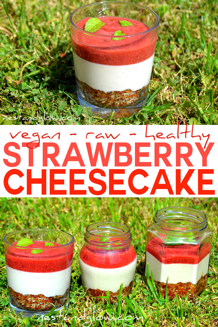Raw strawberry cheesecake dairy and gluten free nest and glow