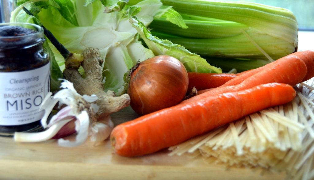 ingredients for cauliflower greens stirfry