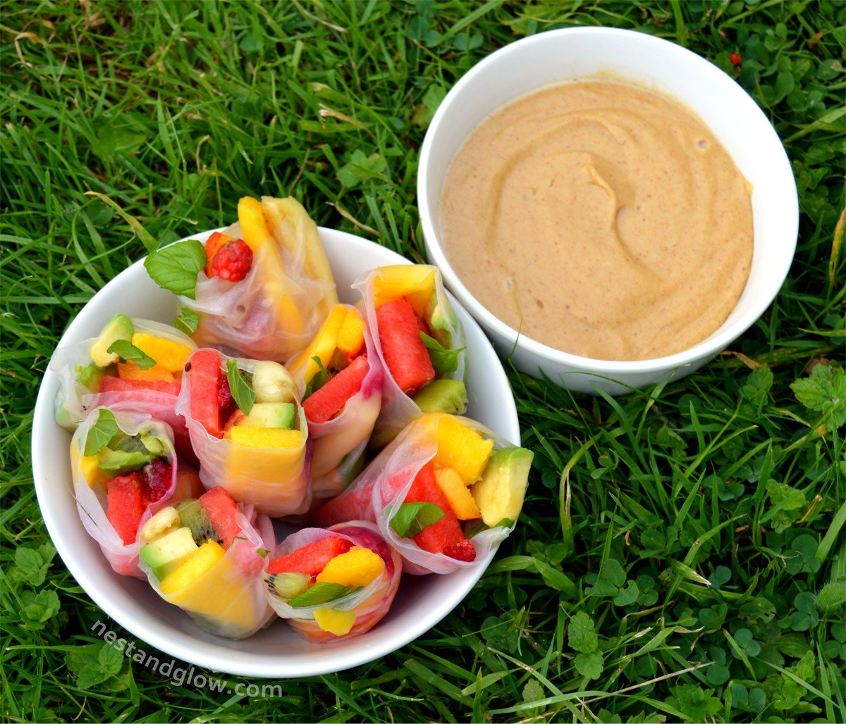 Fruity Summer Rolls with Salted Caramel Dip
