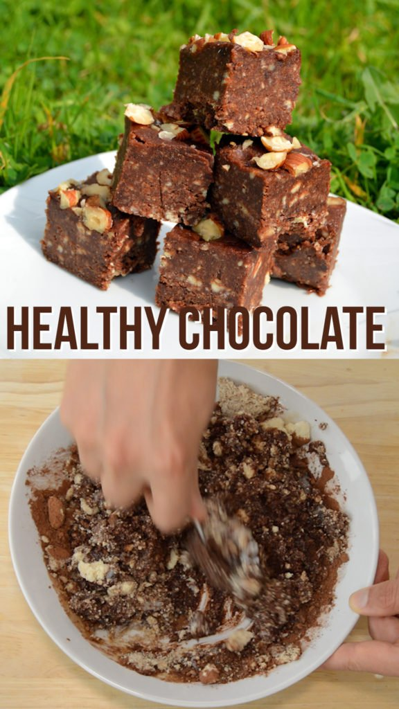Healthy chocolate and hazelnut fudge that is free of dairy, unhealthy oils and butter. This vegan and wholefoods recipe is quick to make and very tasty #healthytreat #healthycandy #healthyrecipe #veganrecipe #plantbased