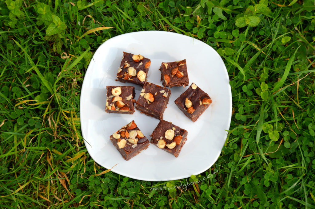 Nutella Chocolate Hazelnut Fudge on a plate
