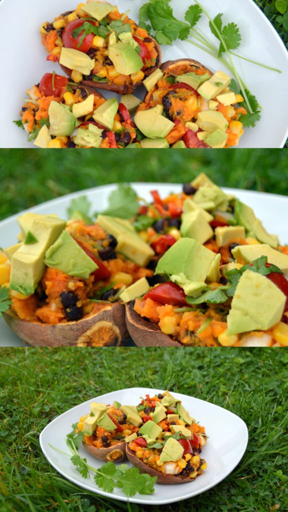 Everyone loves these healthy vegan and oil free baked sweet potato veggie loaded dish. Perfect as either a side or a main.