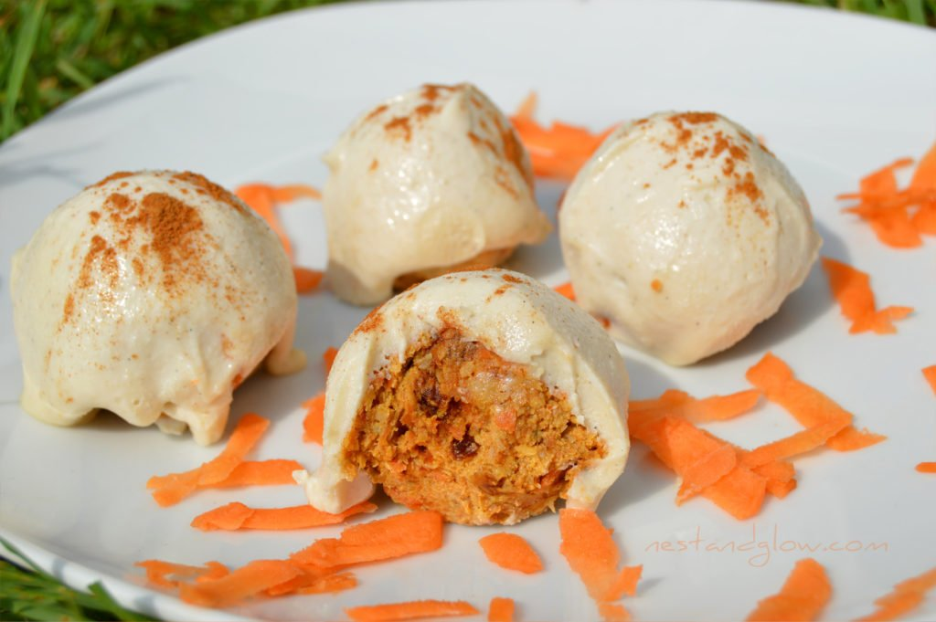 Carrot Cake Truffles with Vanilla Bean Icing - Nest and Glow