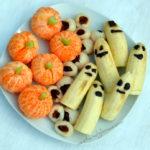 Healthy Halloween Treats – Lychee Eyeballs, Banana Ghosts & Clementine Pumpkins