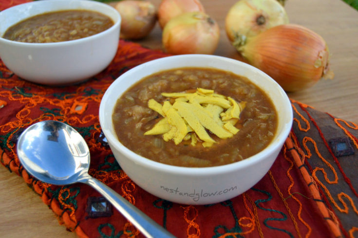 Vegan French Onion Soup with Miso and Sunflower Cheese