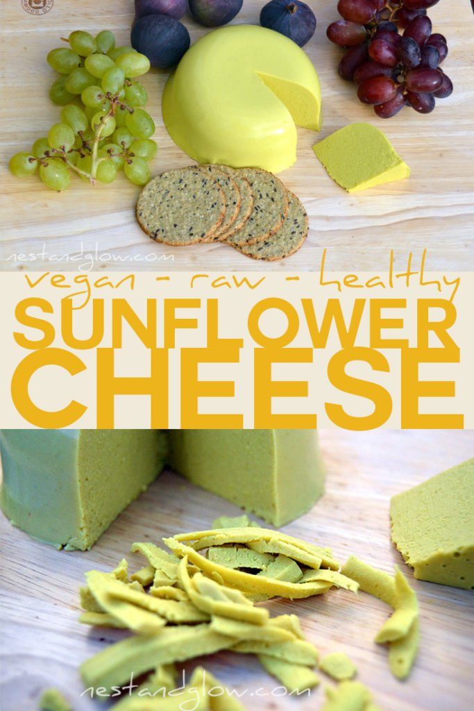 raw vegan sunflower cheese made from soaked sunflower seeds and seaweed. Tastes amazing and slices! Inexpensive as this vegan cheese contains no nuts #veganrecipe #vegancheese #healthyrecipe #cheese #vegan #dairyfree