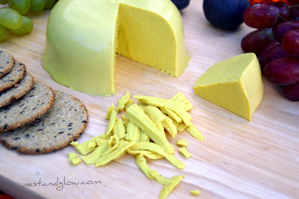 raw vegan sunflower cheese that grates - nut free seed cheese