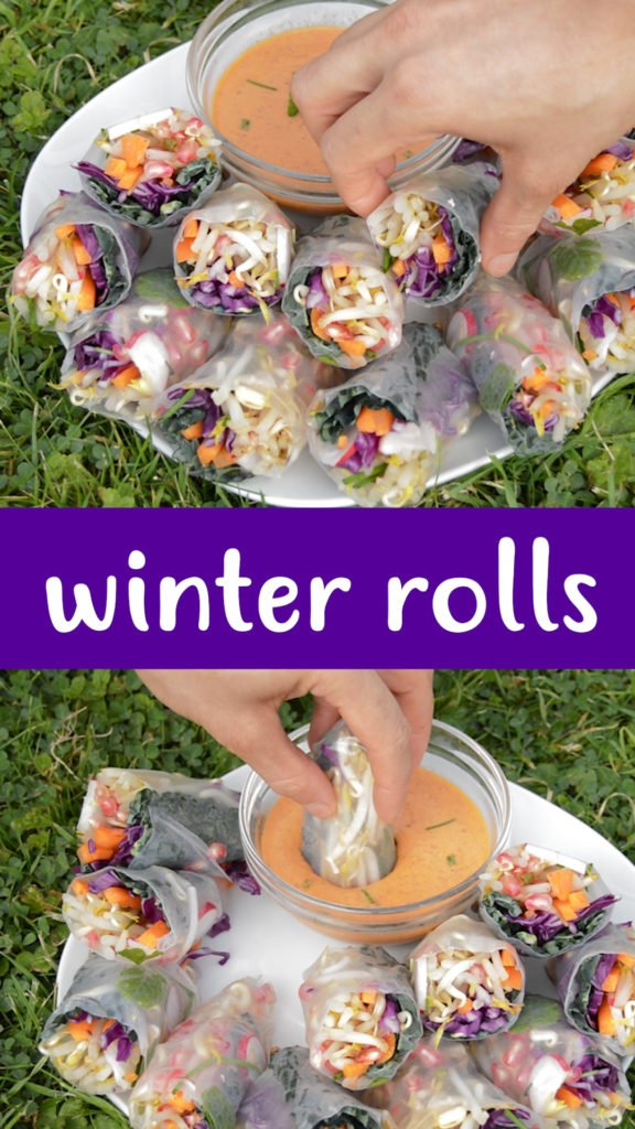 Winter rolls are the great way to get all the health benefits of a salad during colder days. Fresh raw veggies go perfectly with a warming spicy dip #healthyrecipe #healthy #natural #vegan #glutenfree