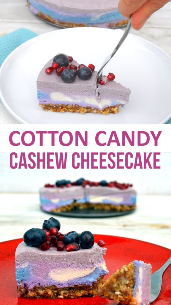cotton candy cashew cheesecake vegan, gluten free recipe with blueberry, pomegranate and dye naturally