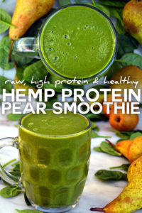 Smoothie with Hemp Protein Pear Spinach