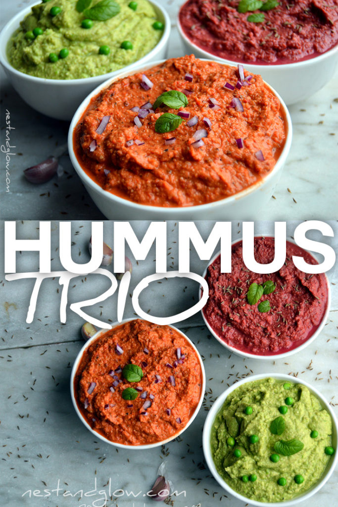 Easy and healthy recipe for a trio of hummus