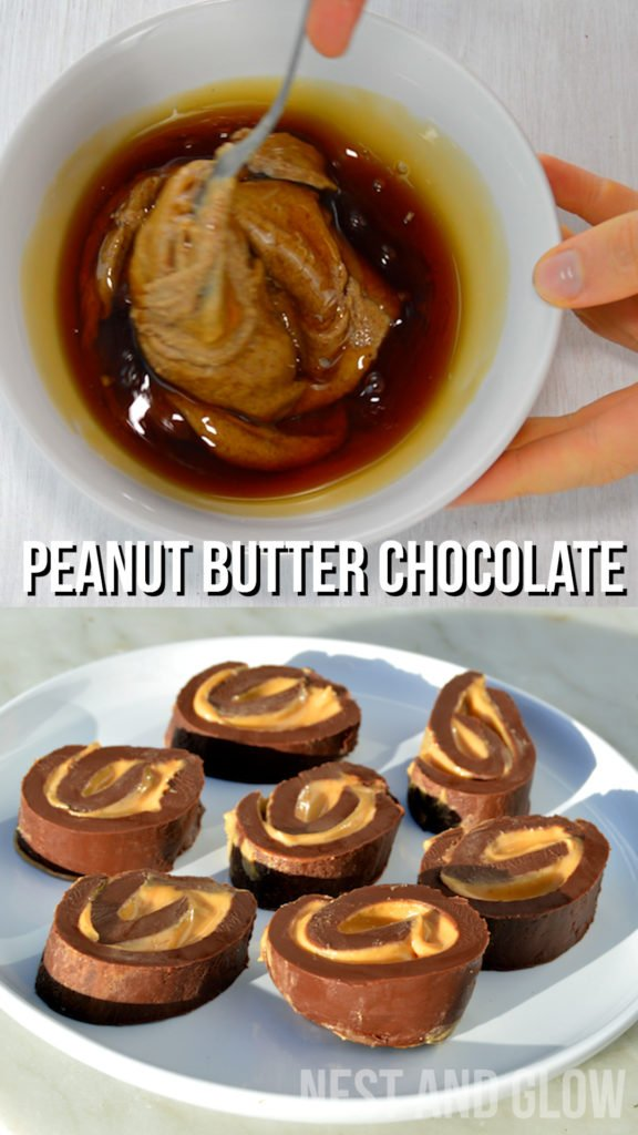 Chocolate peanut butter fudge candy. Make with dark chocolate and palm oil free peanut butter for a great healthy treat #chocolaterecipe #peanutbutterrecipe #chocolate #peanutbutter #candy #vegan