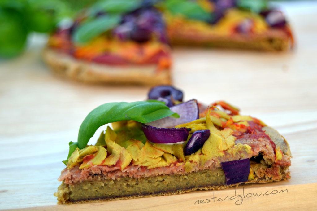 A slice of gluten free quinoa crust pizza