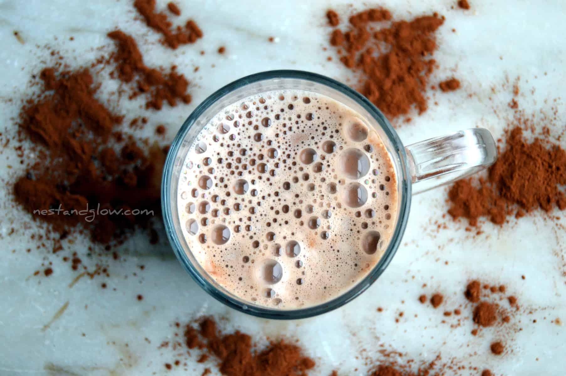 Raw Dairy Free Hot Chocolate Recipe - Nest and Glow