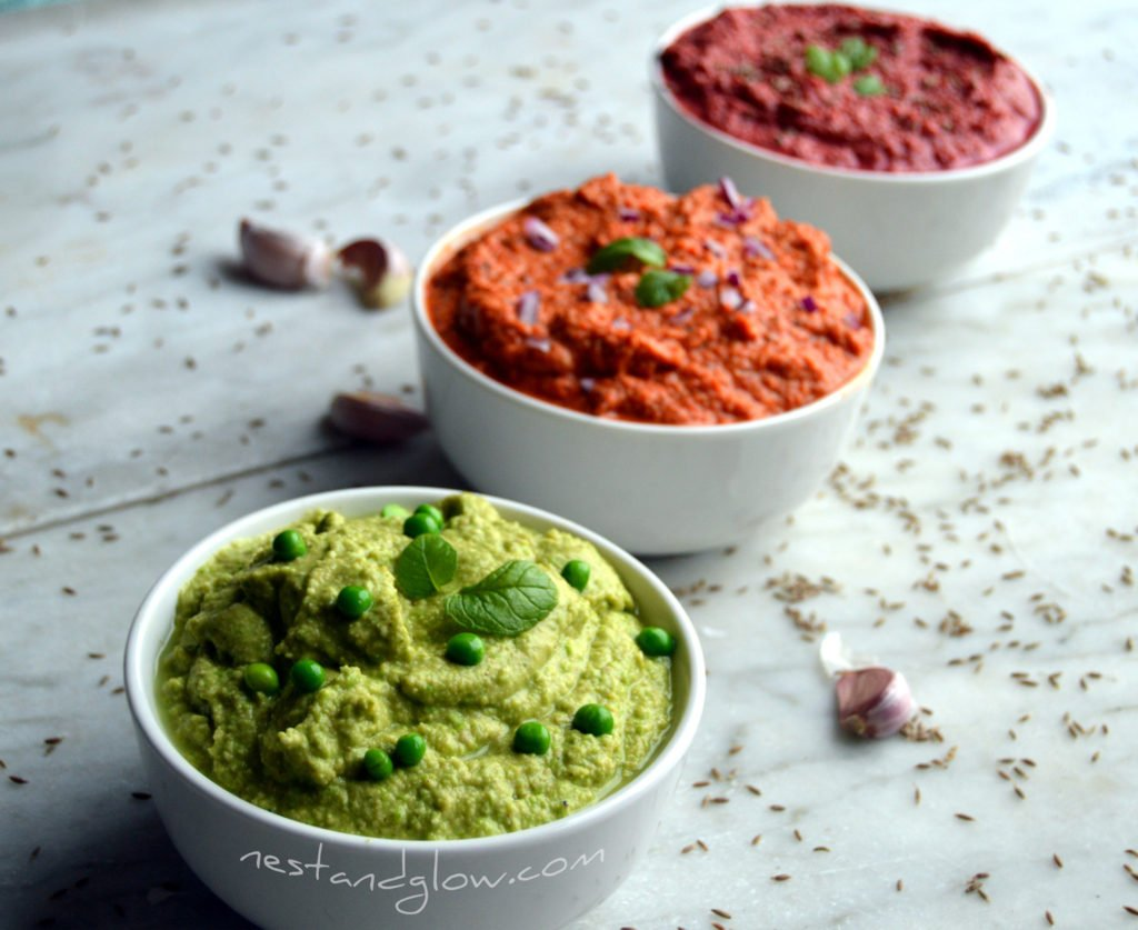 Healthy pea and mint, red pepper and beetroot hummus recipe