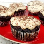 Black Bean Chocolate Fudge Muffins with Vanilla Frosting