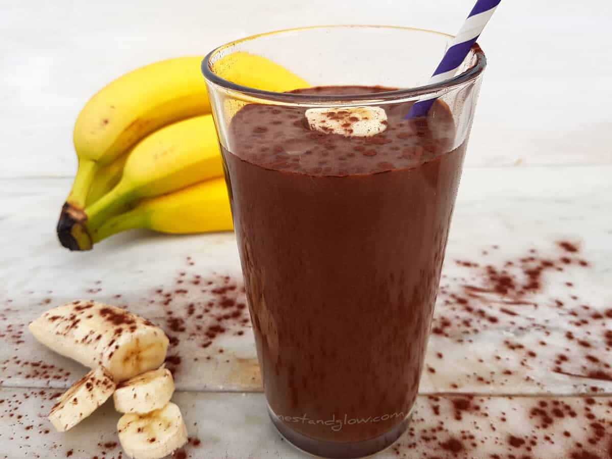 Chocolate Hazelnut Banana Fudge Milkshake Recipe - Nest and Glow