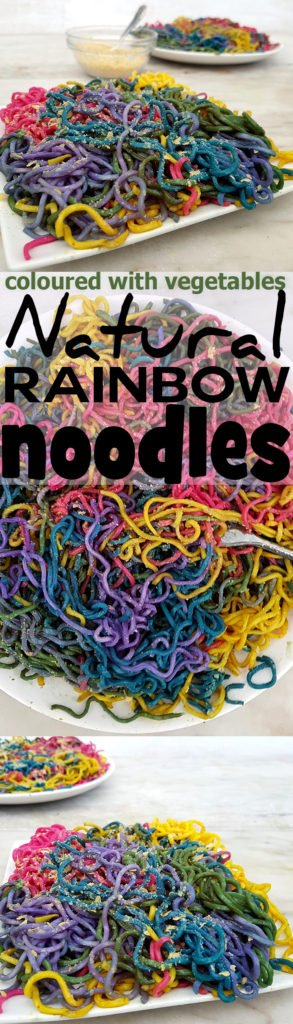 Natural rainbow noodles recipe - coloured with vegetables and spice