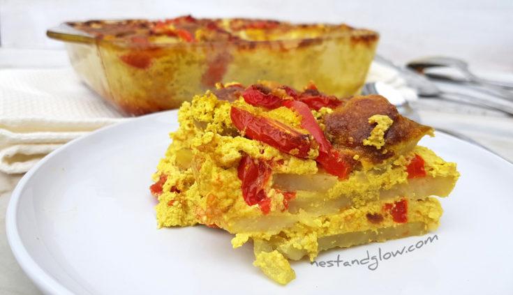 Sunflower Seed Cheese and Tomato Potato Bake Recipe