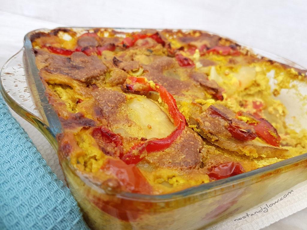 Vegan cheese and tomato potato bake easy recipe