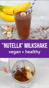 Quick and easy recipe for raw dairy-free Chocolate Hazelnut Banana Fudge Milkshake. Vegan, dairy free, gluten free and healthy.