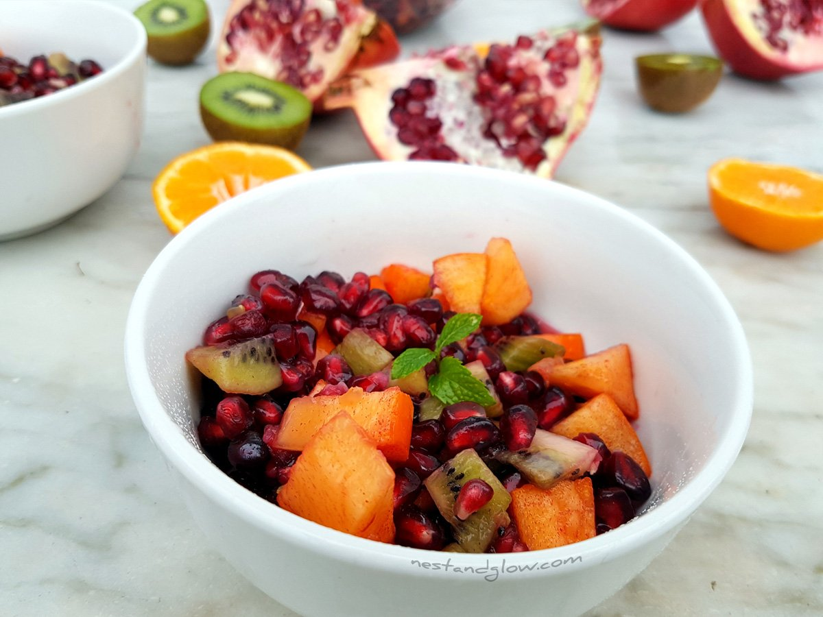 Winter Fruit Salad recipe - pomegranate, persimmon and clementine