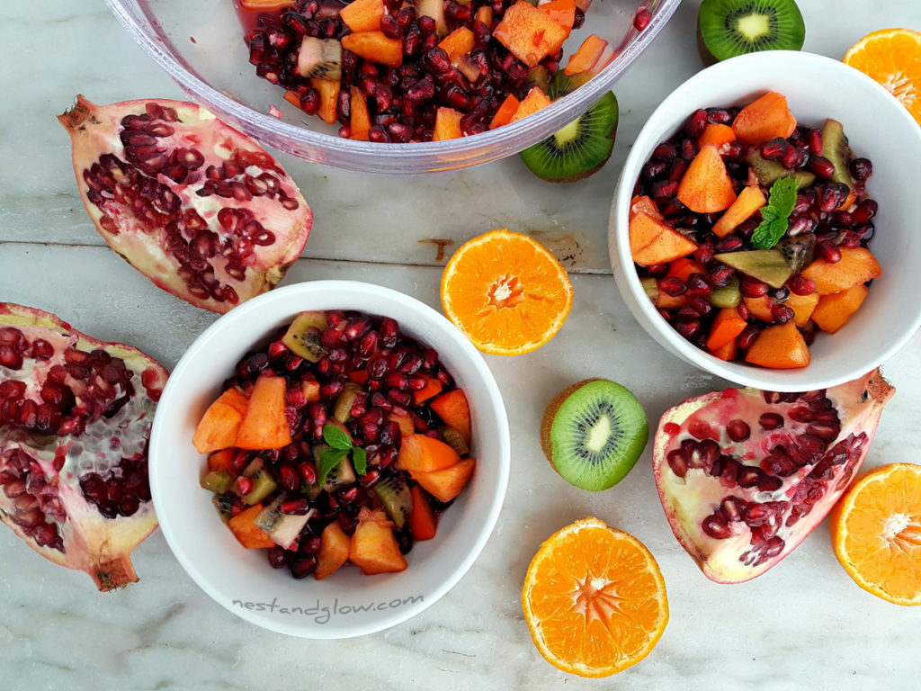 Winter Fruit Salad - Pomegranate, Persimmon and Clementine - Nest and ...